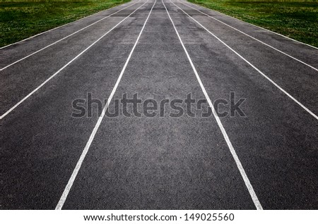 This is closeup of an Empty Running Track.
