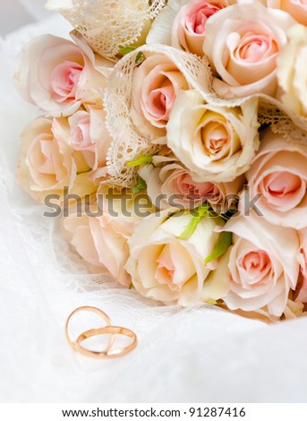 This is closeup of wedding bouquet - stock photo