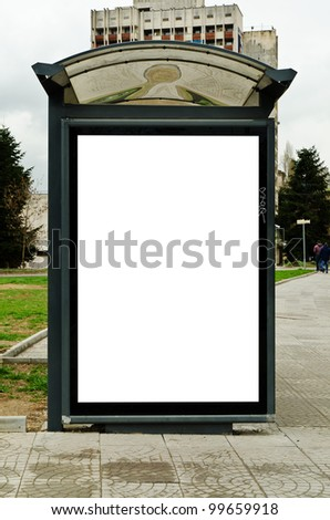 This is for advertisers to place ad copy samples on a bus shelter. - stock photo