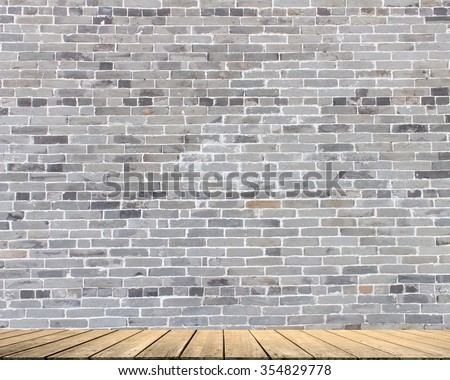 this is Gray brick. limestone cement wallpaper  with aged tiles floor pure brickwork concrete wall vintage slate stucco backdrop advertise products on display pattern structure product facade rustic - stock photo