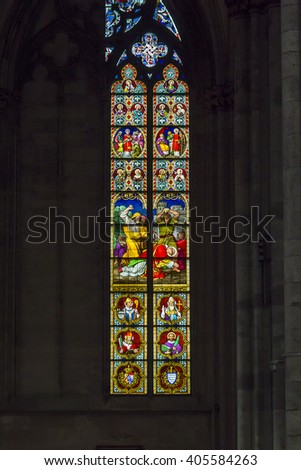 This is one of the stained glass windows of the Cologne Cathedral May 16, 2013 in Cologne, Germany.