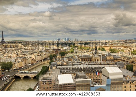 This is panoramic view of Paris from the heights of Notre-Dame de Paris May 13, 2013 in Paris, France.