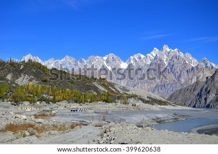 This is Passu cathedral ridge viewed from the Karakoram Highway near the village of Passu, Upper Hunza valley, Gilgit-Baltistan , northern Pakistan - stock photo