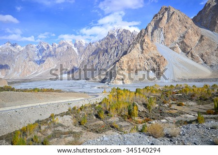 This is Passu Cathedral viewed from the Karakoram Highway near the village of Passu, Upper Hunza valley ,northern Pakistan - stock photo