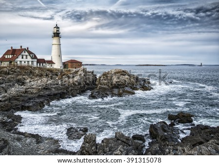 This is Portland Head Light in Cape Elizabeth, ME. This was taken in November of 2015 on a fairly cold & windy day. However, the clouds that were in the area contribute to the tone of this image.