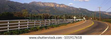 This is scenic Route 150 with the Topa Topa Mountains in the background. - stock photo