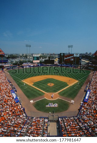 This is Shea Stadium. Playing were the NY Mets vs. the San Francisco Giants. The Mets won 9 to 8 in a day game.