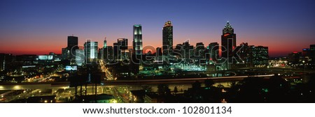 This is the Atlanta skyline in the mid 90's. It is the view at dusk. - stock photo