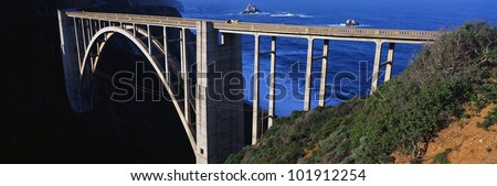 This is the Bixby Bridge that carries the Pacific Coast Highway. The Pacific Ocean is to the right of the bridge. - stock photo