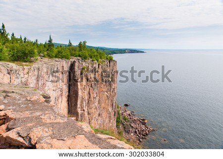 This is the cliff of Palisade Head in the Lake Superior North Shore area of Minnesota. - stock photo