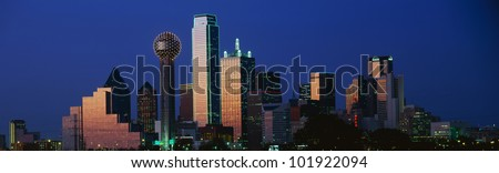 This is the Dallas skyline at dusk. - stock photo