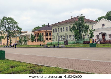 This is the Kremlin Square with the late 19th century wooden houses May 26, 2013 in Vologda, Russia.
