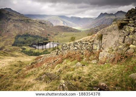This is the Langdale Valley in the English Lake District viewed from Lingmoor Fell. - stock photo