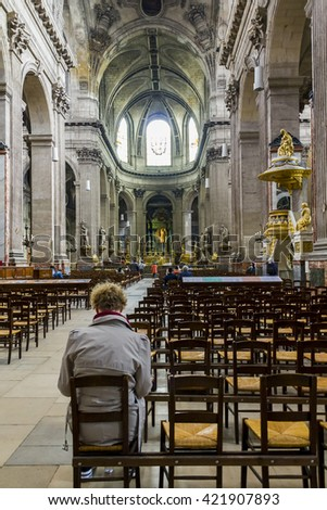 This is the main nave of the Paris church of Saint-Sulpice May 14, 2013 in Paris, France.