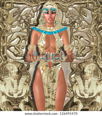 This is the mythological Goddess of Light whose rule over Egypt was the beginning of it's illustrious history. The Goddess Of Light, It was she who  turned on the light in the minds of Egyptians. - stock photo