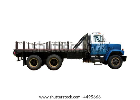 This is the side view of a flat bed straight truck with a city style day cab. isolated on white.