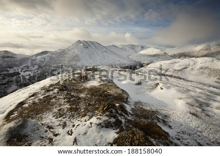 This is the view from the summit of Barrow looking towards Causey Pike in the English Lake District - stock photo