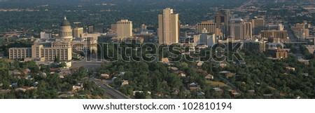 This is Utah's State Capitol and Salt Lake City's skyline in daylight. - stock photo