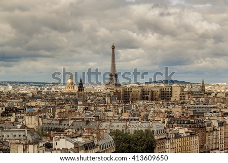 This is view of Paris from the heights of Notre-Dame de Paris May 13, 2013 in Paris, France.