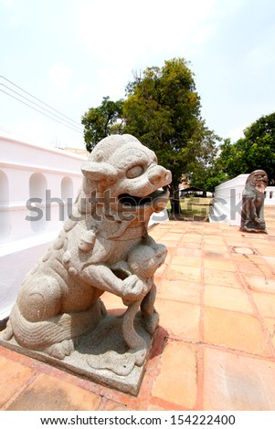 This lion statue is the guardian of palace  - stock photo