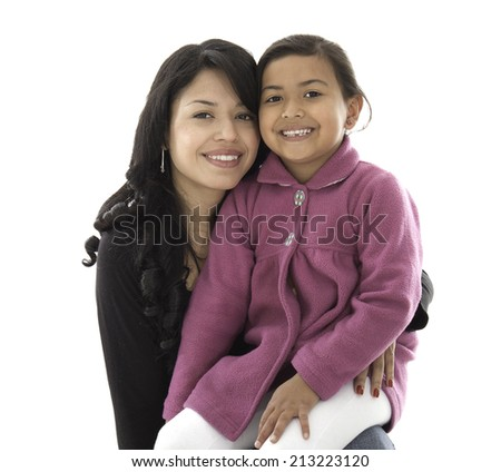 This mother and daughter are happy and smile they love each other - stock photo
