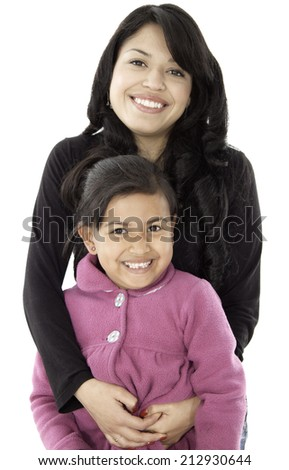 This mother and daughter are happy and smile they love each other and look happy - stock photo