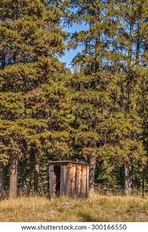 This outhouse at the edge of the forest looks to be in fairly good shape - stock photo