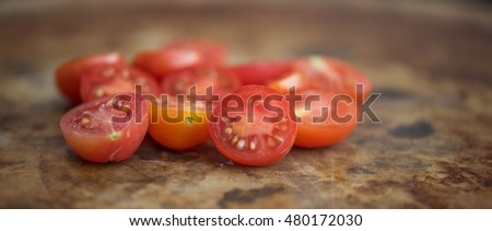 This panoramic image is Matt's Wild Cherry Tomatoes. They are part of the species Lycopersicum esculentum.  Originally from Maine this species is very popular for garden growing in the summertime.