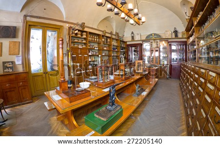 this pharmacy museum in 1730 Trademarks are very old and long lost relevance in our time The museum is open for visits Photo video allowed - stock photo