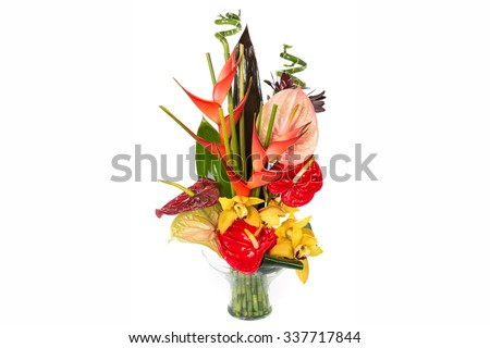 This photo is a floral arrangement of exotic flower  for special events. - stock photo