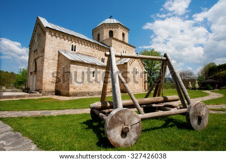 """This photo represent the """"Gradac"""" monastery in Serbia, which is founded in XIII century, and it represent one of the most important centers of Serbian history and culture - stock photo"""