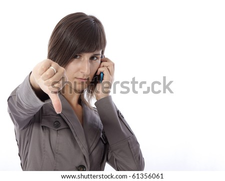 This photo shows a business woman talking on the phone. - stock photo