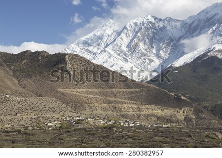 This photo was shot from Jomsom city which located in Mustang district, Nepal.