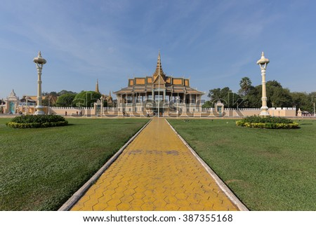 This photo was shot from the Royal Palace in Phnom Penh, Cambodia. It was constructed over a century ago to serve as the residence of the King of Cambodia, his family and foreign dignitaries. - stock photo