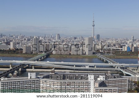 This photo was shot from Tokyo city which is the capital city of Japan. Tokyo is one of the big and busy city in the world but aslo the most beautiful.  - stock photo