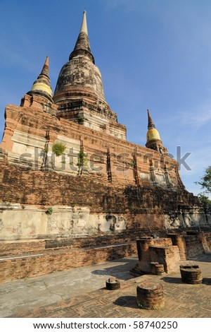 """This place is a temple """"Yai Chai Mongkol."""" Located in Ayutthaya province, Thailand. Importantly, the sacred pagoda, Mongkol, which is very large. - stock photo"""