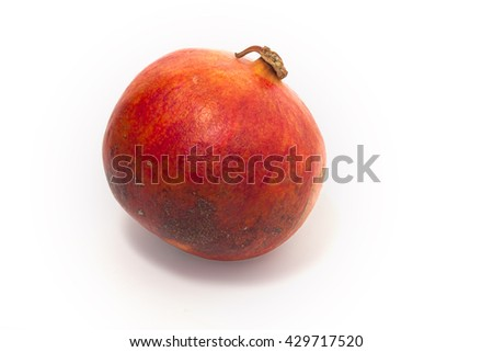This pomegranate fruit on a white background,  clipping path.