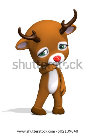 This poor little baby reindeer is sad on Christmas - 3d render.