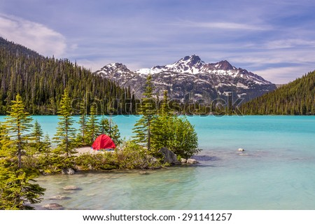 This red tent is a nice contrast with the turquoise water of Upper Joffre Lake in British Columbia, Canada