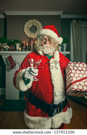 This Santa just wants to party. - stock photo