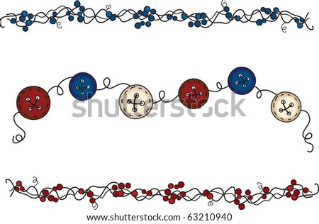This set of primitive folk art elements will add a touch of country to your project - stock photo
