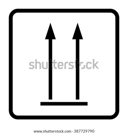 This side up sign icon. Fragile package symbol. Arrows sign. Black square button. Flat design. This side up packaging emblem on white background. Warning sign. Stock illustration - stock photo
