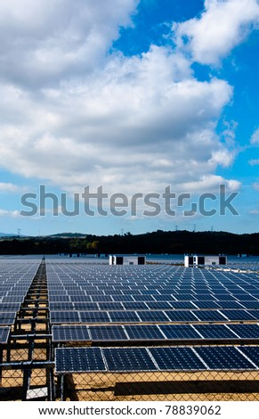 This solar farm is producing lots of energy in southern Spain - stock photo