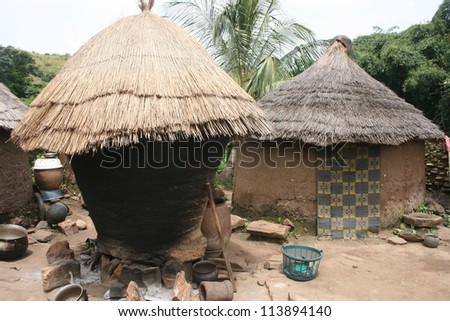 This Taneka village of thatched roof huts is  typical of Gurunsi architecture in Burkina Faso, Africa