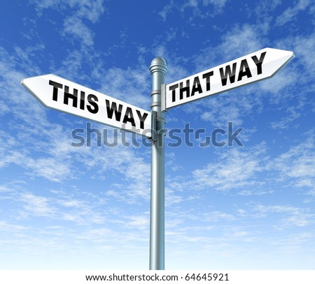 this way that way confused street sin post directions - stock photo