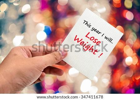 This year I will Lose Weight handwriting on a sticky note - stock photo