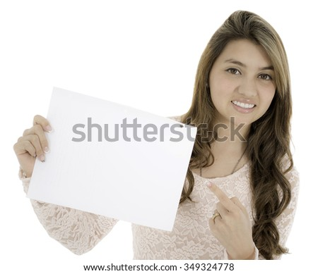 This young lady have a paper on her hands and she show as the paper - stock photo