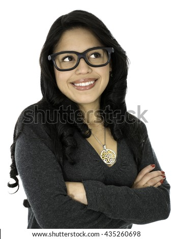 This young lady wear a glasses and she is happy - stock photo