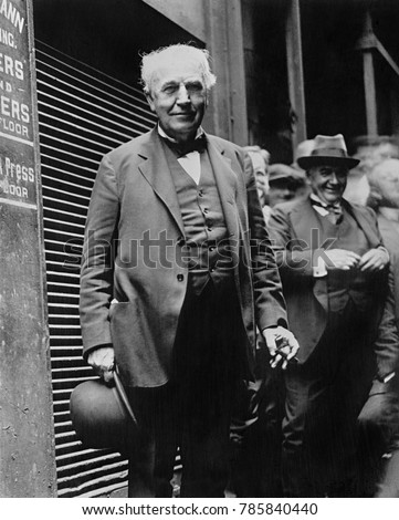 Thomas Edison, American inventor and engineer in 1925. He invented the phonograph, the motion picture camera, and sustained electric light bulb