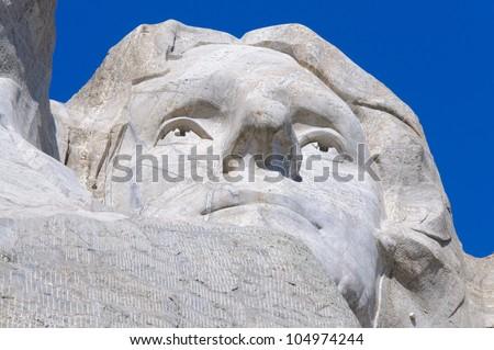 Thomas Jefferson face on Mount Rushmore National Memorial - stock photo